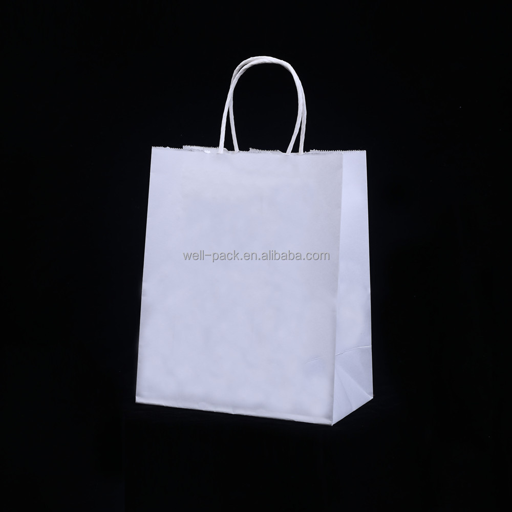 white glossy art paper packing paper bags for shopping with logo printed
