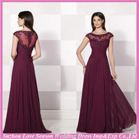 HM5051 2015 new style burgundy color cap sleeve lace appliqued top beaded sheer back chiffon mother of the bride chiffon dresses