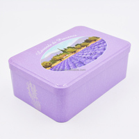 Rectangular hinged perfume tin box with embossing (190X125X67Hmm)