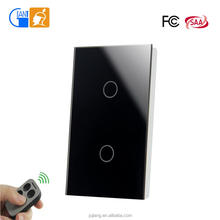 US standard wifi power switch crystal glass panel touch switch RF remote control with fob key JJ-USB-02AB