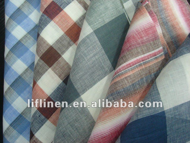 100% linen check plaid stripe yarn dyed fabric