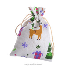 Holiday in stock Christmas bags/christmas reusable bag with drawstring
