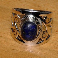 Blue Copper Turquise silver designer rings,gemstone designer jewelry