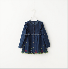 Z10672B Flying sleeve lace flower embroidered hemming jean dress for baby girls