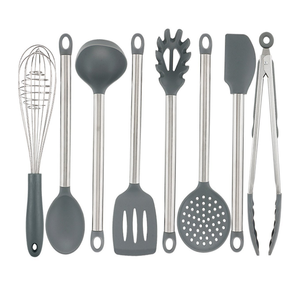 Silicone Kitchen Utensil Set,8 Pieces Cooking Utensil Set, Nonstick Kitchen Tools and Gadgets with Stainless steel Handle