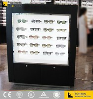 Black Paint Glasses Dispaly Showcase with LED Light ,Durable Artistic Sunglasses Cabinet with Ultra Clear Glass