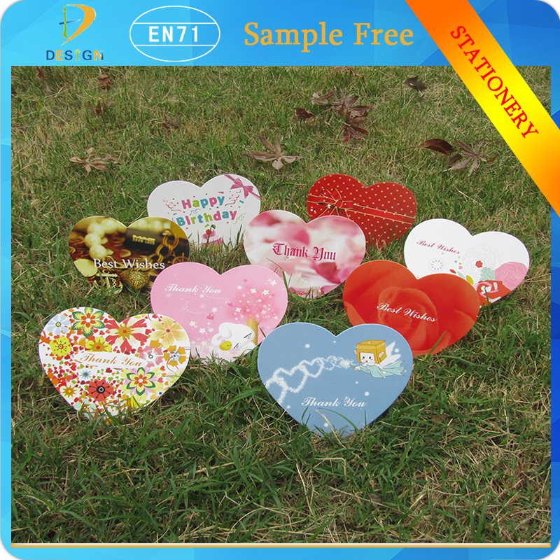Mini Message Colored Love Heart Shape Paper Postcards Greeting/Birthday Cards Valentine's Day Gifts Decor as Bookmark