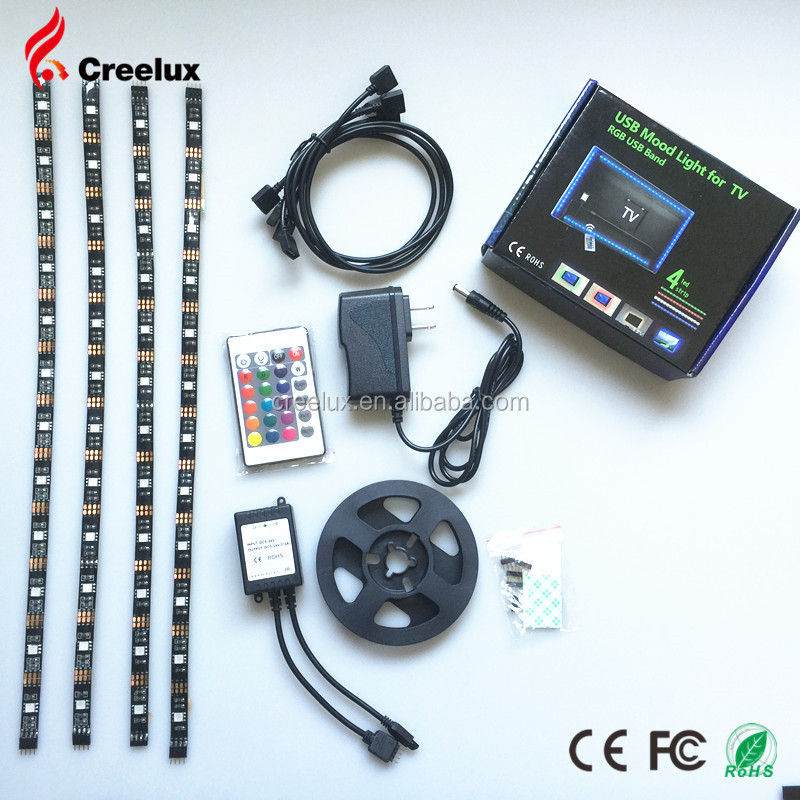 Creelux Bias Lighting USB Multi Color LED Strip Lights With Remote Control for HDTV
