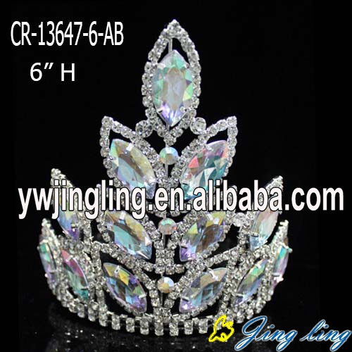 "6"" Pink Crystal Baroque Crown Pageant Tiara"
