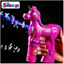 LED Flashing Light Unicorn Wholesale Kids Bubble Gun Toy with Music