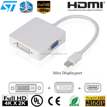 3 In 1 Mini displayport Thunderbolt to DVI VGA HDMI Converter Adapter cable for iMac Mac Mini Pro Air Book TO Monitor TV