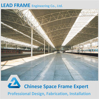 galvanized steel space frame train station roof truss
