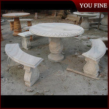 Round Table with 3 Long Bench Seats