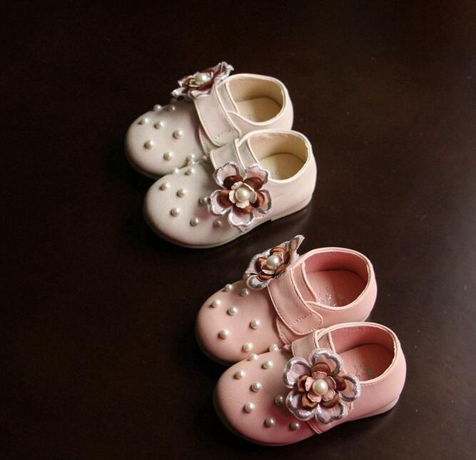 B12053A fashionable baby girl pearl beaded princess prewalkers shoes