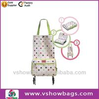 Hot selling simple folding shopping trolley bag on wheels