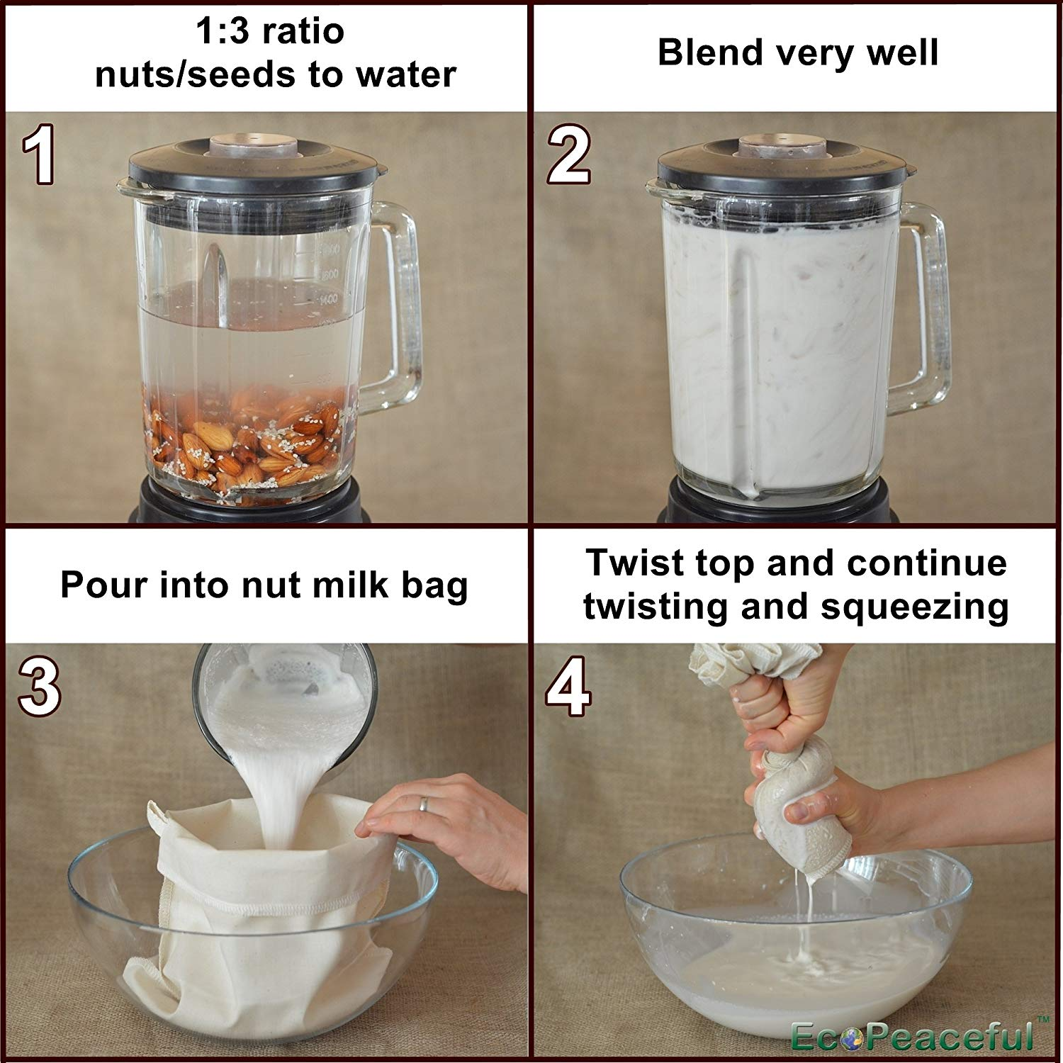 Cheesecloth Strainer Filter Bag For the Best Almond Milk, Cold Brew Coffee, Tea Juicing, Yogurt, Tofu