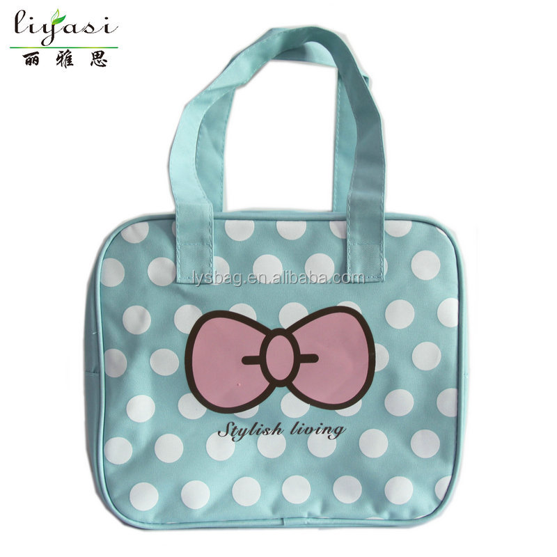 hot wholesale high quality cute girl blue oxford travel organizer toiletry tote bag cosmetic bag