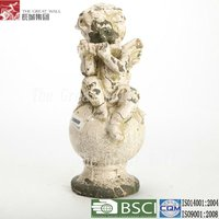 15 inch antique ceramic playing flute little angels models