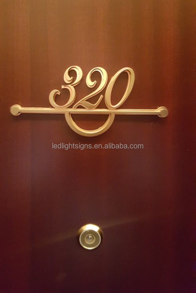 Customized design gold plating stainless steel 3d letter vintage sign self adhesive letters and numbers for hotel room number