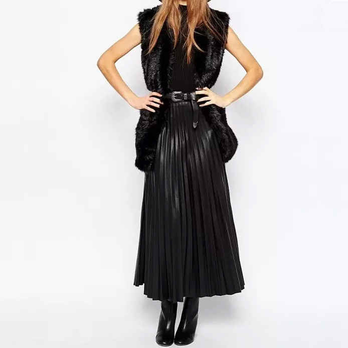 Women fashion sexy shiny faux leather PU skirt pleated maxi long skirt for lady