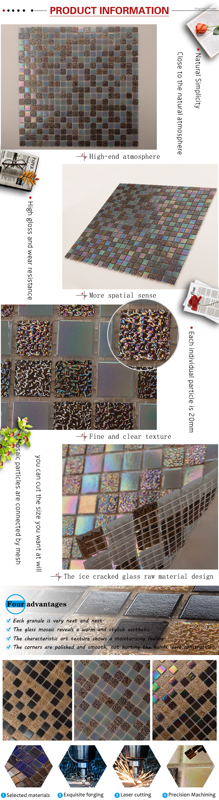 Foshan GUCI century colored mirrors bathroom glass mosaic tile
