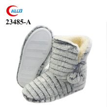 wholesale striped tonal faux fur fold down indoor boots for women