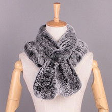 real rabbit fur shawl / handmade knitted neck scarf