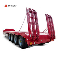 Famous Brand ZW ZF Transporting Heavy-duty Vehicles Cheap Lowboy Semi Trailer Hot Sale