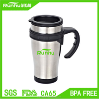 Comfortable handle 16oz stainless steel travel mug with lid RH302