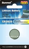 3v lithium CR2025 button cell battery