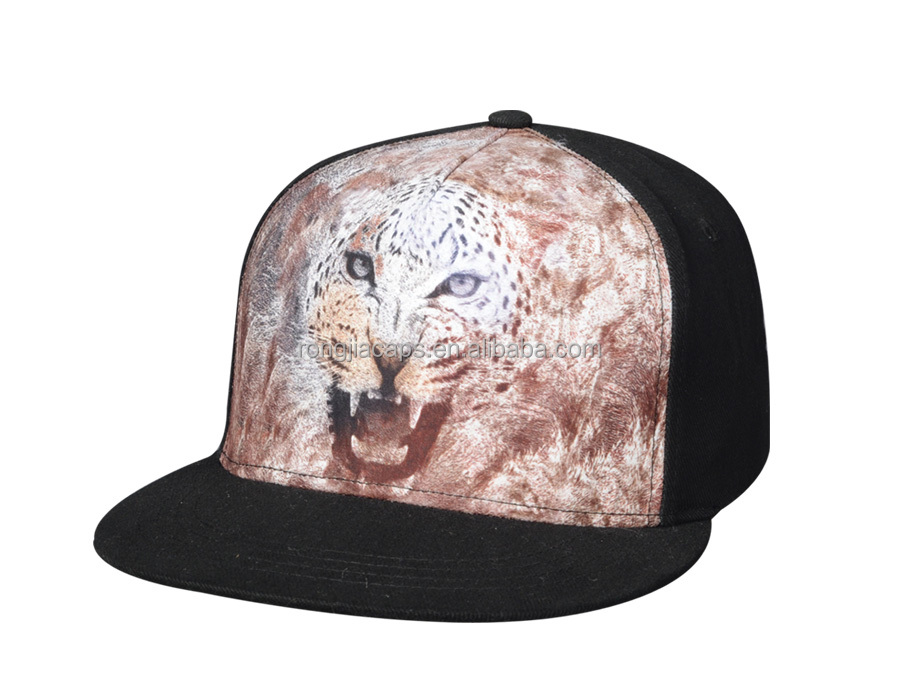 Fashion 5 panel Printed Lion promotional baseball cap