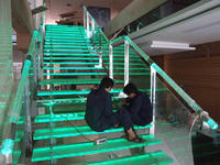 Fashion led glass stair, lowes stair treads led lighting,tempered glass panel stairs,L-310