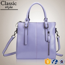 CR low MOQ top leather quick reply high-capacity handbag with pocket outside suture elegant purple lady shoulder bag
