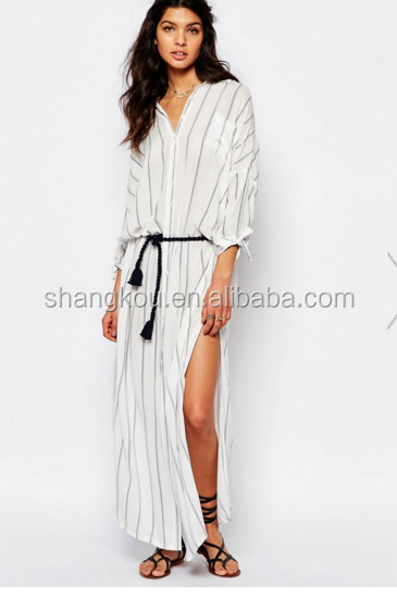 Guangzhou Clothes Factory manufacturer Stripe shirt Maxi dress,One piece Dresses