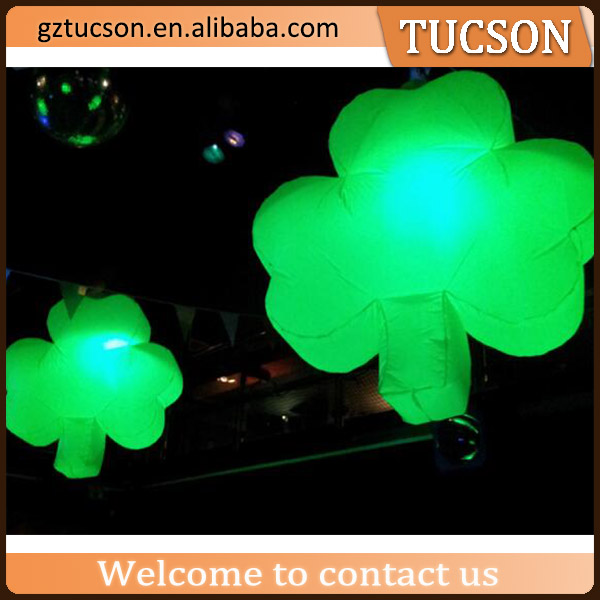 Led lighting inflatable four leaf clover/ hanging inflatable green glass