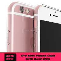 High quality TPU cell phone case for iPhone 6 with dust plug