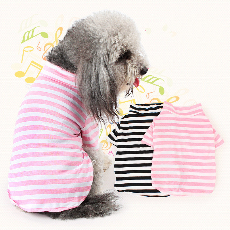 2016 New High Qulity Dog Clothes,Lovely Striped Dog Shirts with High Collar For Pets Dogs