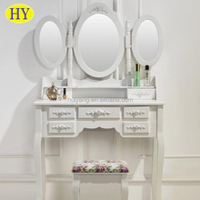 Custom European New Fashion Design Wooden Dressing Tables with 3mirrors Wholesale