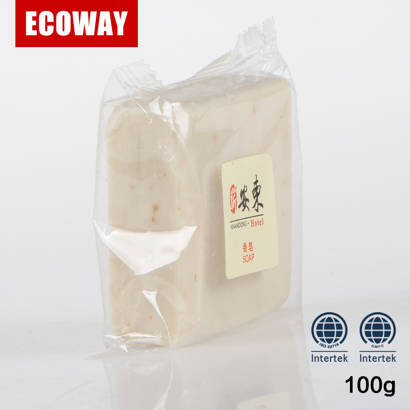 Travel use portable plastic bag packaging disposable hotel bath soap 100g