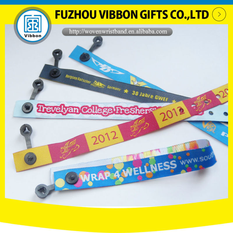 High quality custom design one time used woven fabric wristband