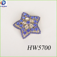 five-pointed star shaped glass beads with blue diamond buckle for shoe ornament