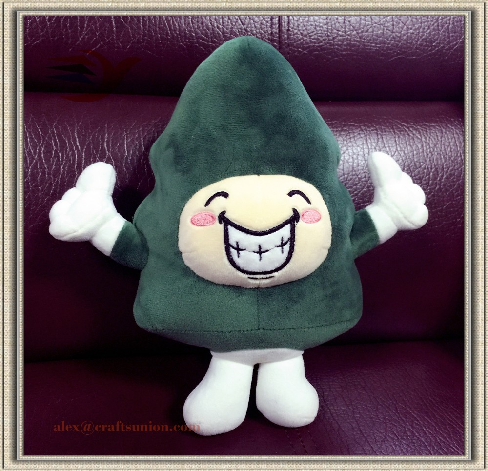 promotional christmas tree plush toys for kids/35cm smiling face customied plush toy