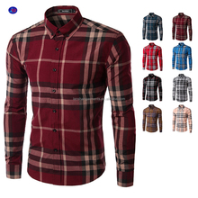 New Fashion Mens Check&Plaid Long Sleeve Cotton men dress shirt