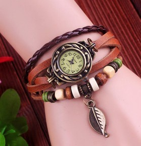 High Quality Genuine Leather Vintage Watch Women bracelet Wrist Watch D7553