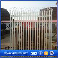 Hot Dip Galvanized Steel Palisade Fencing Residential Iron Fence Design