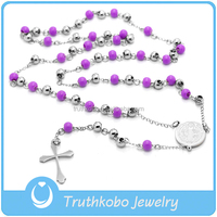 Two Tone 316 Stainless Steel Silver Rosary with Plastic Purple Bead Cross Pendant High Polish Religious Virgin Rosary Neckalce
