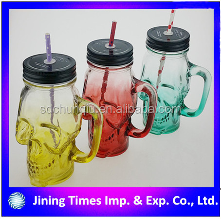 480ml 16oz unique gradient color pinting skull head glass mason bottle crossbones glass ball mason jar with handle and straw
