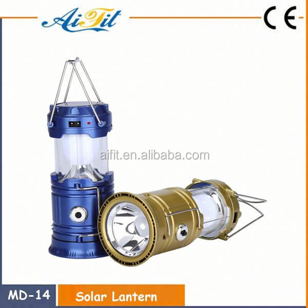 6/30 LED portable retractable solar camping lantern for emergency camping