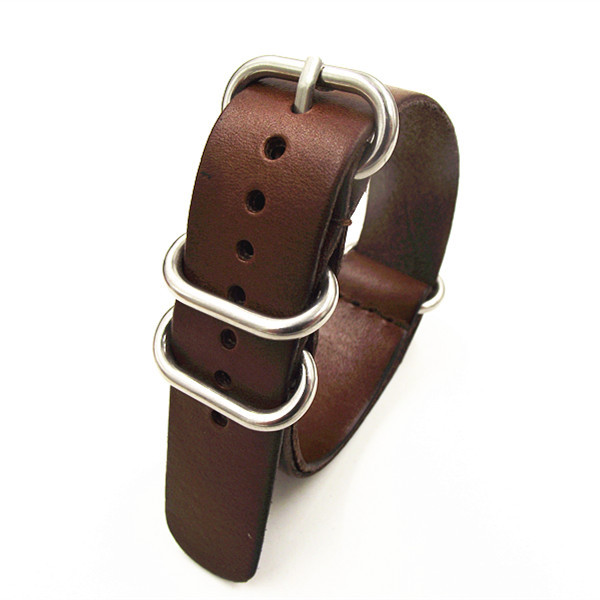 1PCS High quality 18MM 20MM 22MM Nato strap genuine leather dark coffee color Watch band NATO straps zulu strap watch strap-0918