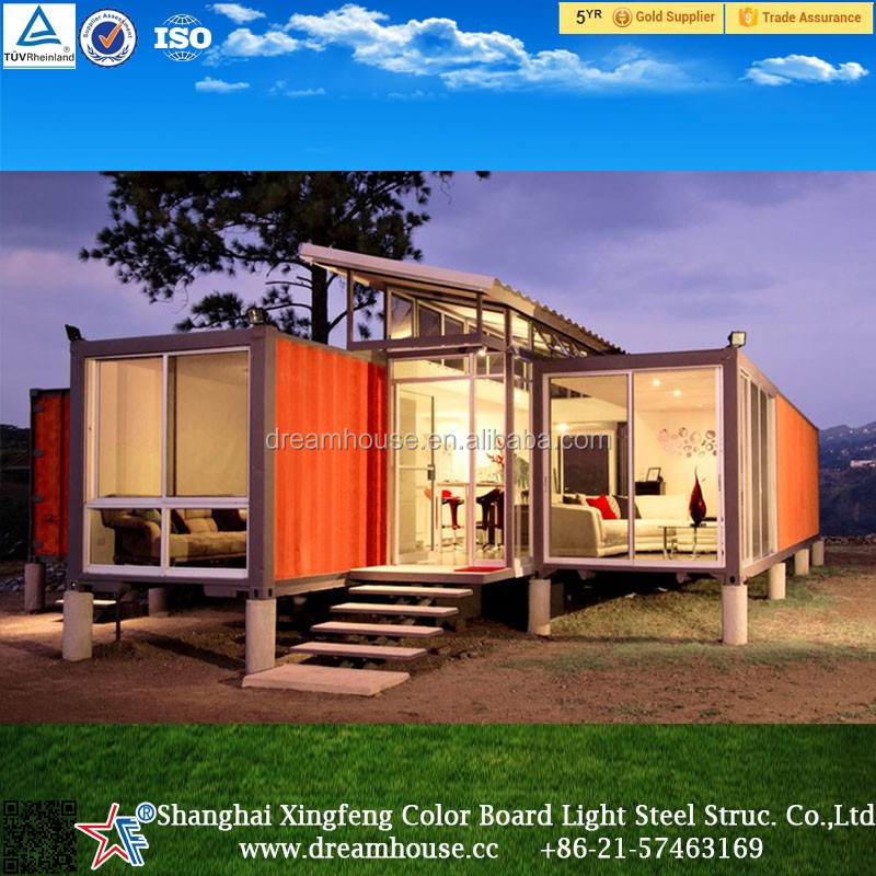 light steel waterproof log cabins prefab house/light steel prefabricated luxury container homes for sale